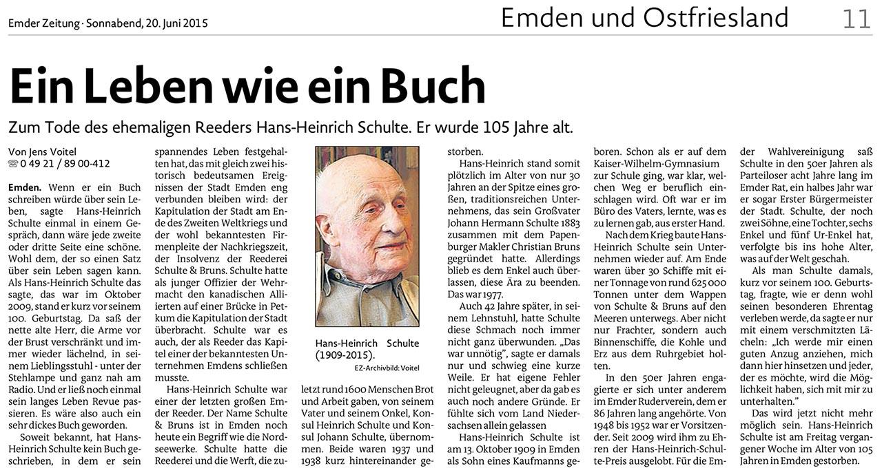 Zum Tode von Hans Heinrich schulte